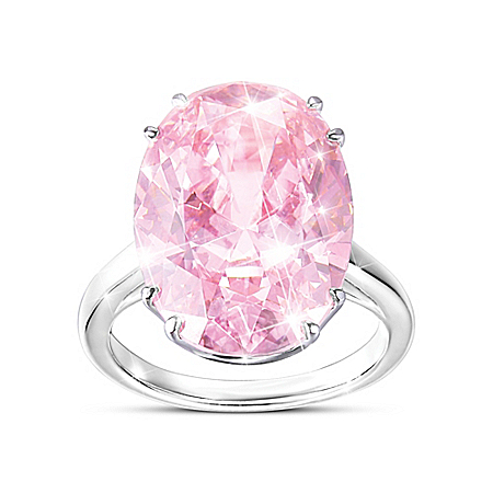 Photo of Diamonesk Majestic Pink Women's Sterling Silver Ring by The Bradford Exchange Online