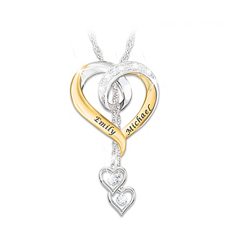 Photo of Forever In Love Women's Heart-Shaped Personalized Diamond Pendant Necklace by The Bradford Exchange Online