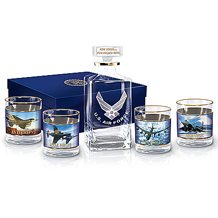Photo of U.S. Air Force Aim High Glass Decanter Set by The Bradford Exchange Online