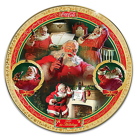 Photo of COCA-COLA Holiday Treasures Heirloom Porcelain Collector Plate by The Bradford Exchange Online