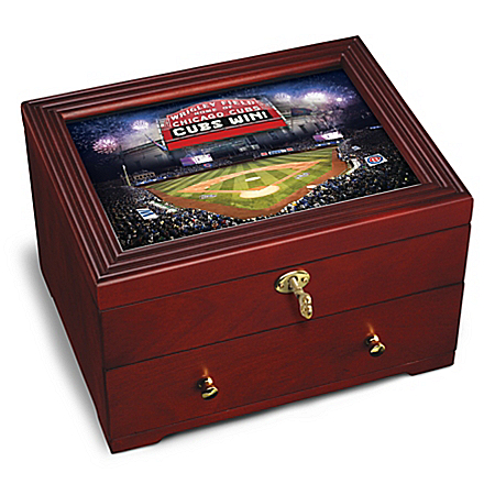 Photo of Chicago Cubs MLB Custom-Crafted Wooden Keepsake Box by The Bradford Exchange Online