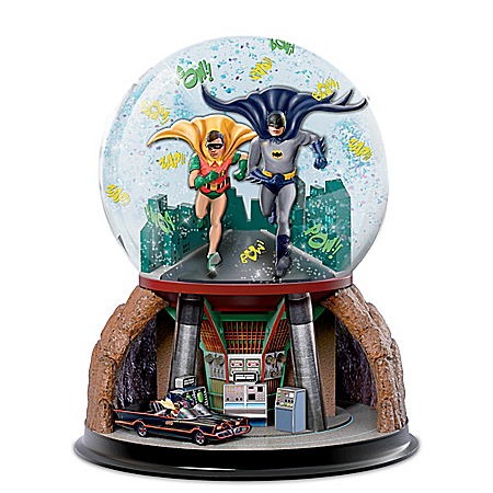 Photo of TO THE BATMOBILE Rotating Musical Glitter Globe by The Bradford Exchange Online