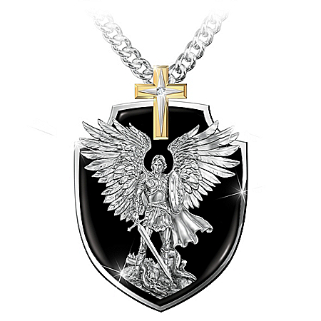 Photo of Strength Of St. Michael Stainless Steel Grandson Pendant Necklace by The Bradford Exchange Online