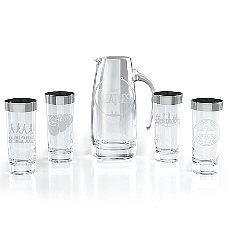 Photo of The Beatles Pitcher And Silver-Plated Rim Glassware Set by The Bradford Exchange Online