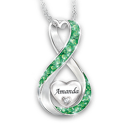 Photo of Always Loved Granddaughter Personalized Diamond Pendant Necklace by The Bradford Exchange Online