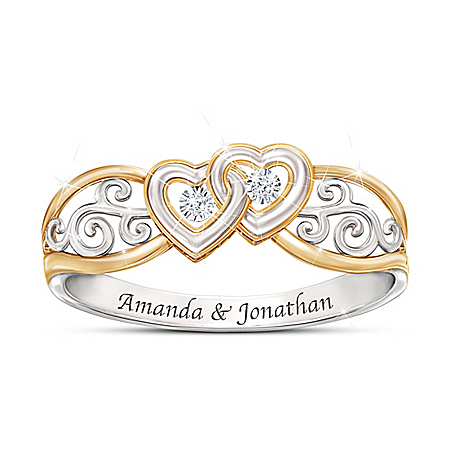 Photo of Two Hearts, One Promise Women's Personalized Heart-Shaped Diamond Ring by The Bradford Exchange Online