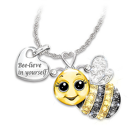Photo of Granddaughter, Always Bee Yourself Swarovski Crystal Pendant Necklace by The Bradford Exchange Online