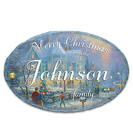 Photo of Thomas Kinkade Holiday Personalized Outdoor Welcome Sign by The Bradford Exchange Online