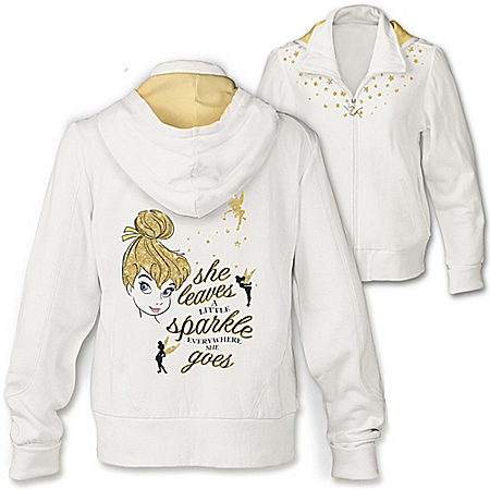 Photo of Disney Tinker Bell Magic Women's Easy-Care Cotton Blend Front Zip Hoodie by The Bradford Exchange Online