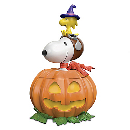 Photo of PEANUTS Peek-A-Boo! Sculptural Jack-O-Lantern Food-Safe Cookie Jar by The Bradford Exchange Online