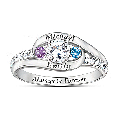 Photo of Together As One Women's Topaz & Birthstone Personalized Ring by The Bradford Exchange Online