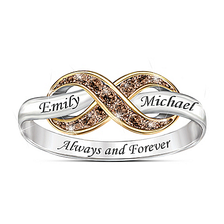 Photo of Always & Forever Women's Personalized Mocha Diamond Ring by The Bradford Exchange Online