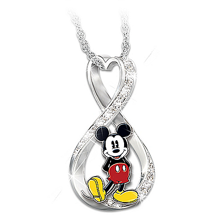 Photo of Disney Mickey Mouse Forever Women's Infinity Pendant Necklace by The Bradford Exchange Online