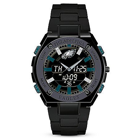 Photo of It's Philadelphia Eagles Time! Men's NFL Stainless Steel Ani-Digi Watch by The Bradford Exchange Online