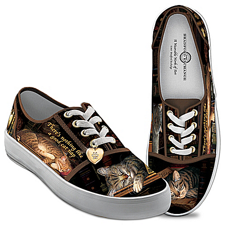 Photo of Cat Nap Women's Canvas Cat-Themed Shoes by The Bradford Exchange Online