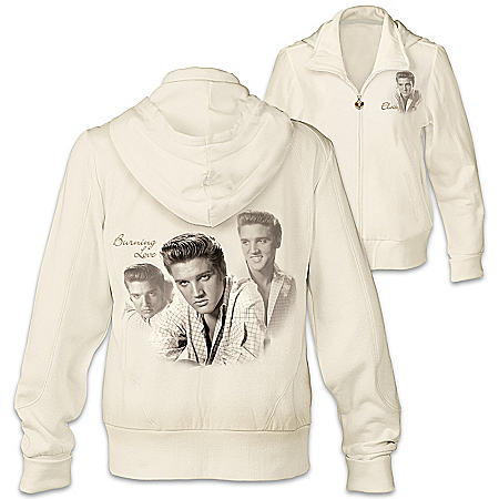 Photo of Burning Love Women's Elvis Presley Ivory Easy-Care & Cotton Knit Blend Hoodie by The Bradford Exchange Online