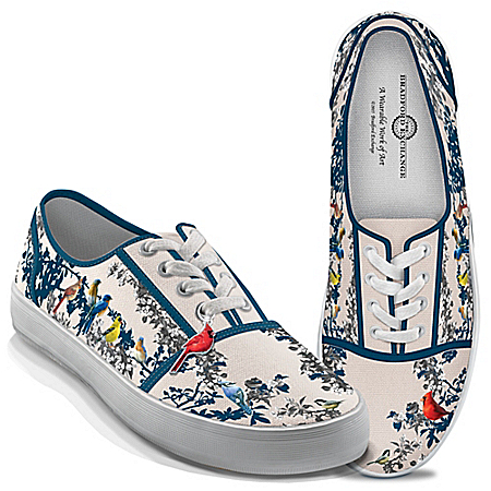 Photo of James Hautman Songs Of Spring Women's Canvas Shoes by The Bradford Exchange Online