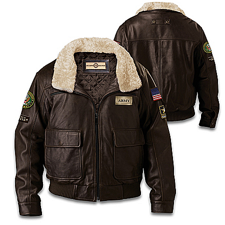 Photo of U.S. Military Army Men's Leather Bomber Jacket by The Bradford Exchange Online
