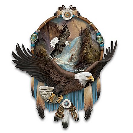 Ted Blaylock Eagle Art Dreamcatcher Wall Decor with Real Leather and Feathers
