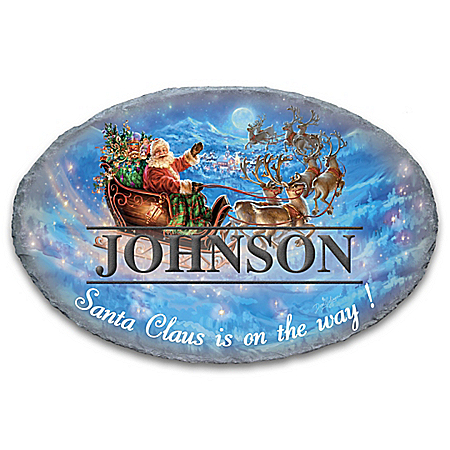 Image of Christmas Santa Claus with Sleigh Welcome Sign - Personalized