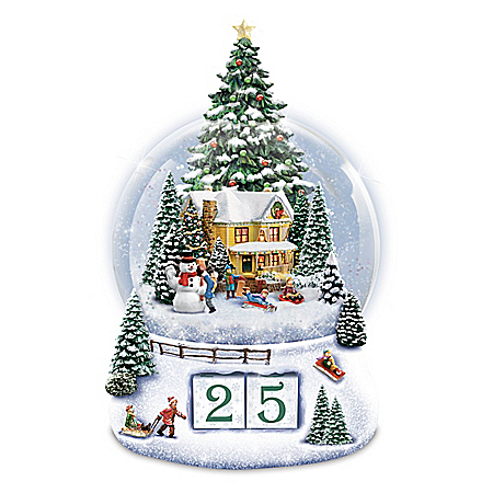 Image of Lighted Thomas Kinkade Christmas Countdown Snowglobe