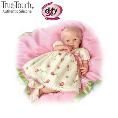 Lily Rose Silicone Baby Doll With 7-Piece Layette Set by