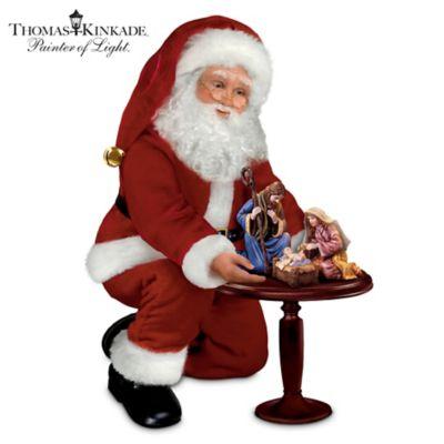 Thomas Kinkade Talking Santa Claus Doll And Nativity Set by