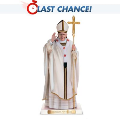 Pope Francis Sculpture With Custom Display Base by