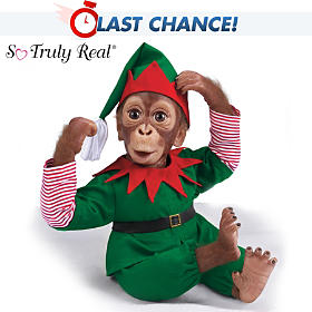 Jolly The Holiday Elf Monkey Doll