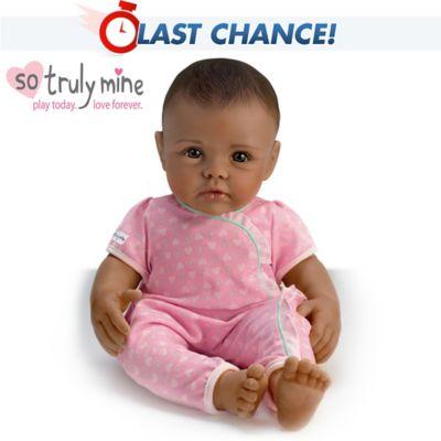 So Truly Mine Lifelike Baby Doll Black Hair Brown Eyes