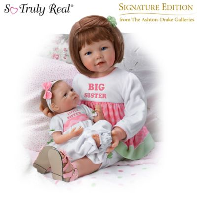 A Sisters Love Child And Baby Poseable Vinyl Doll Set
