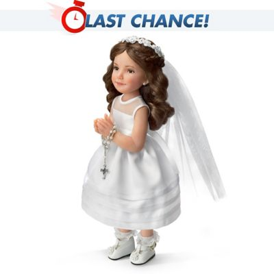 Jane Bradbury First Communion Porcelain Doll With Bible by