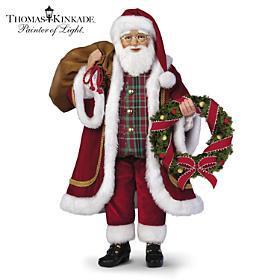 Thomas Kinkade Merry And Bright Santa Doll
