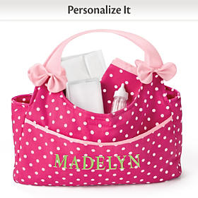 Personalized Polka Dot Baby Doll Diaper Bag & Accessory Set