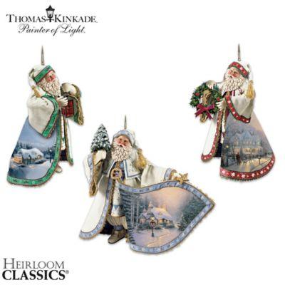 Thomas Kinkade Heirloom Santa Ornaments: Set Of Three by