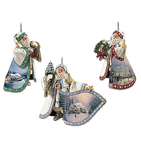 Image of Beautifully Detailed Thomas Kinkade Santa Ornaments