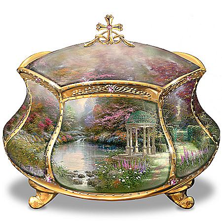 Image of Beautiful Thomas Kinkade Garden of Prayer Music Box