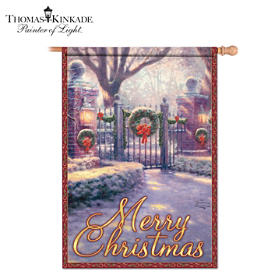 Thomas Kinkade Merry Christmas Flag