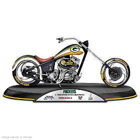 Green Bay Packers Driven To Victory Motorcycle Sculpture