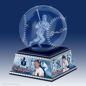 Mickey Mantle Laser-Etched Glass Sculpture