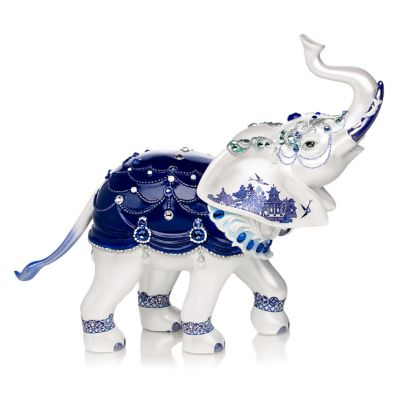 Sparkling Blue Willow Elephant Figurine