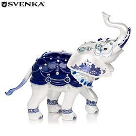Sparkling Blue Willow Elephant Figurine