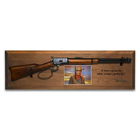 John Wayne Rifle Tribute Wall Decor