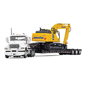 Mack And Komatsu Excavation Team Diecast Truck And Excavator
