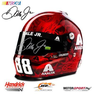Hand-Autographed Dale Jr Axalta 2017 Skull Racing Helmet by