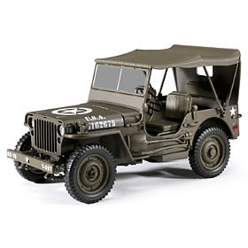 1:18-Scale 1/4 Ton U.S. Willys With Top Diecast Jeep