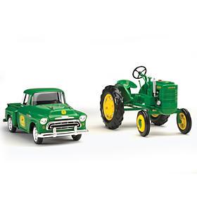 John Deere Teamwork Diecast Truck And Tractor Set