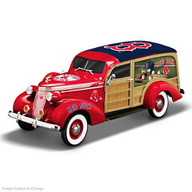 Cruising To Victory Red Sox Woody Wagon Sculpture
