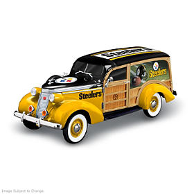 Cruising To Victory Steelers Woody Wagon Sculpture
