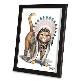Chief Runs With Paws Framed Wall Decor